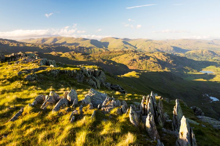 Looking towards the Helvellyn range from Great Carrs in the Lake District, UK.