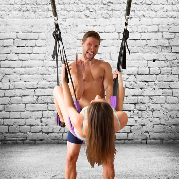 "<a href=""https://www.sexswing.com/"" target=""_blank"">This Sex Swing</a> takes up as much space as a Peloton, but it's more, sh"