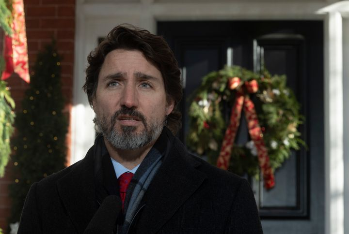 Prime Minister Justin Trudeau speaks during a news conference outside Rideau Cottage in Ottawa on Dec. 18, 2020.