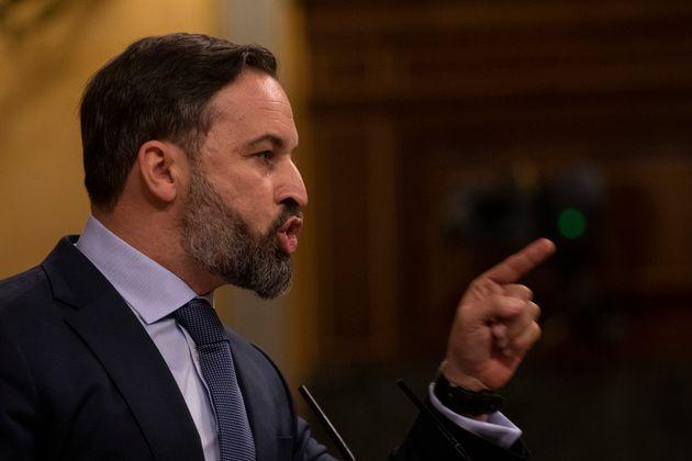 Santiago Abascal, durante la moción de censura de Vox al Gobierno, el pasado 22 de octubre en el