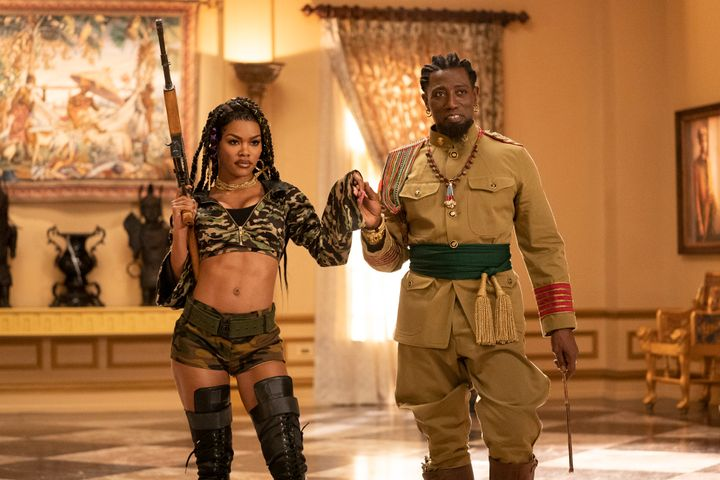 """Teyana Taylor and Wesley Snipes on the set of the upcoming sequel """"Coming 2 America."""""""