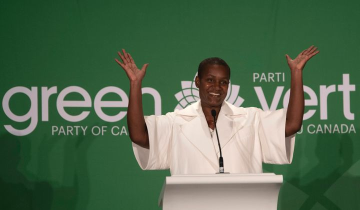 Annamie Paul celebrates after winning the Green Party leadership in Ottawa on Oct. 3, 2020.