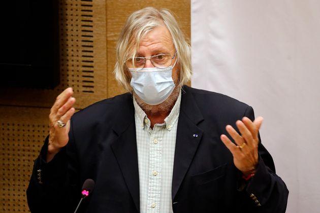 Didier Raoult lors d'une audition face aux sénateurs le 15 septembre 2020 (AP Photo/Francois