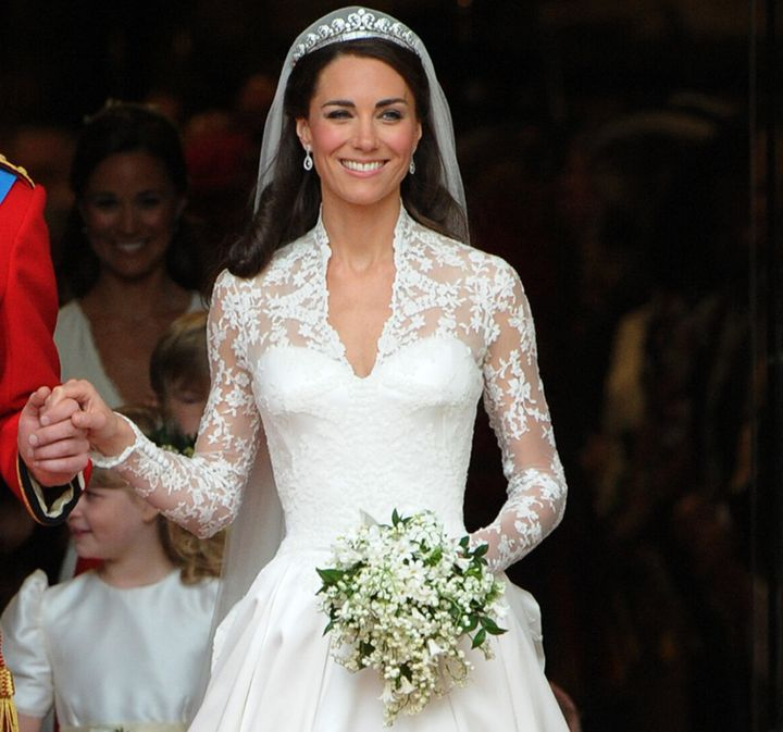 Kate, Duchess of Cambridge, at her wedding to Prince William on April 29, 2011. Chloe Savage was part of the team that applied the lace detailing to her dress.