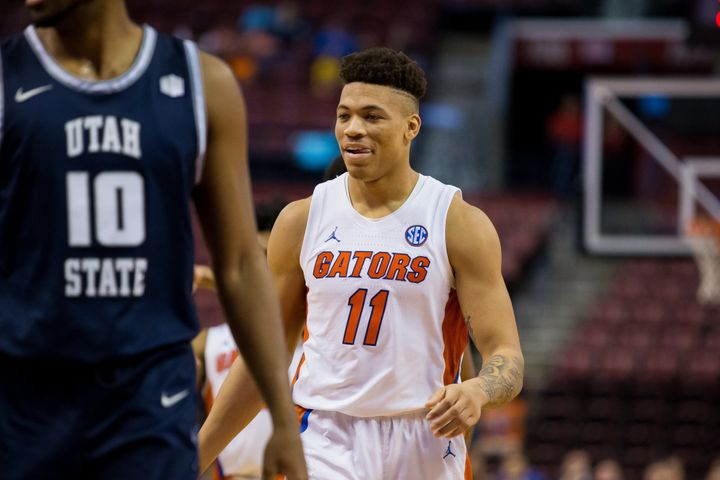 Florida Gators forward Keyontae Johnson (11) in a game with Utah State in 2019. Johnson collapsed during a game Dec. 13 against Florida State.