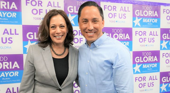 Gloria with Vice President-elect Kamala Harris in August 2020.