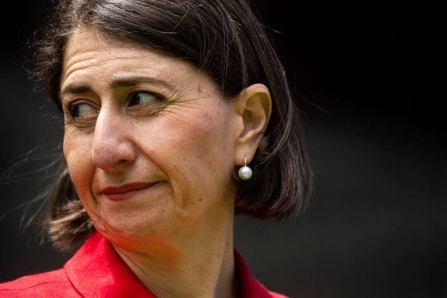 NSW Premier Gladys Berejiklian looks on during a COVID-19 update press conference at NSW Parliament House...