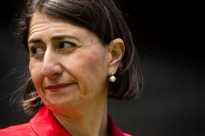 NSW Premier Gladys Berejiklian looks on during a COVID-19 update press conference at NSW Parliament House on December 23, 2020 in Sydney, Australia.