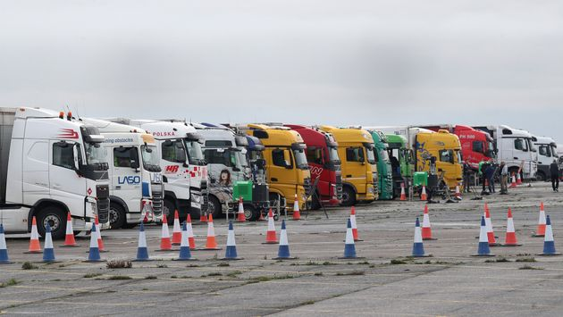 Freight lorries lined up at the front of the queue on the runway at Manston Airport, Kent, after France...