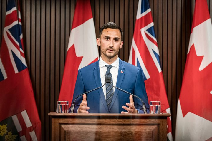 Ontario Minister of Education, Stephen Lecce makes an announcement at Queen's Park in Toronto.