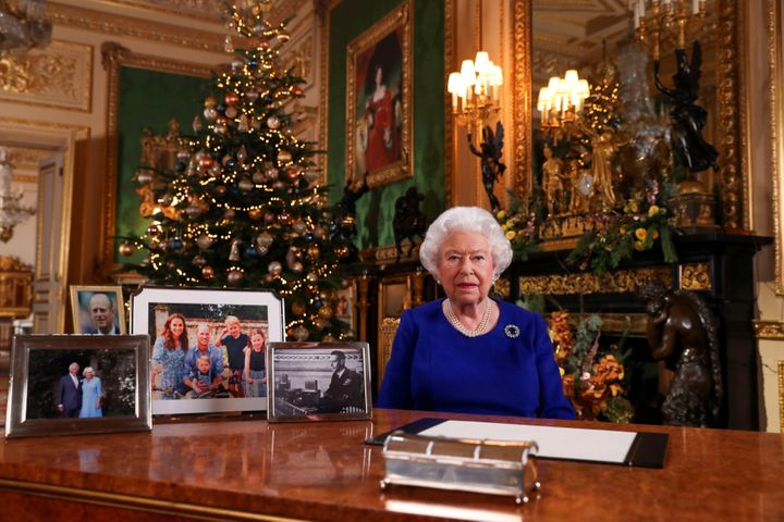 Queen Elizabeth poses after recording her annual Christmas Day message at Windsor Castle for a picture released on Dec. 24, 2