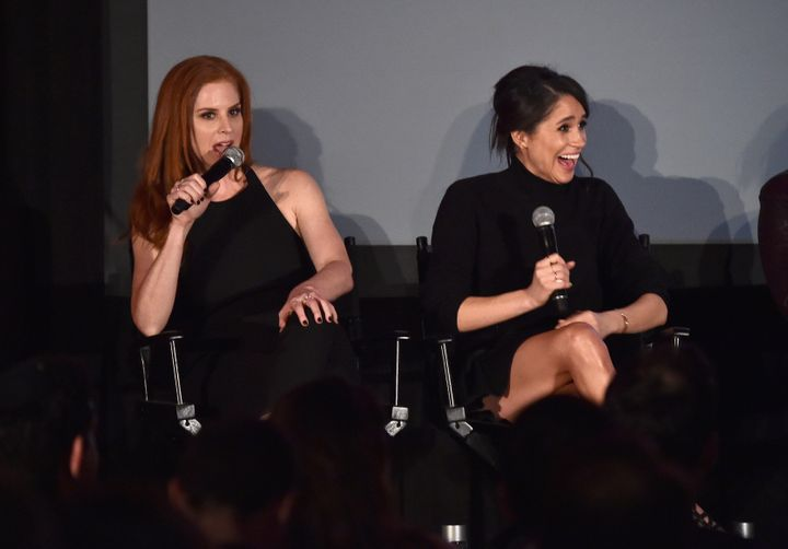 "Meghan Markle with her ""Suits"" co-star, Sarah Rafferty, following the premiere of the show's fifth season on Jan. 21, 2016, several months before she wrote her ""staycation"" piece."