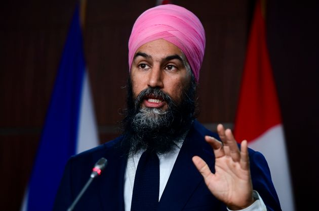 NDP Leader Jagmeet Singh holds a press conference on Parliament Hill in Ottawa on Dec. 9,