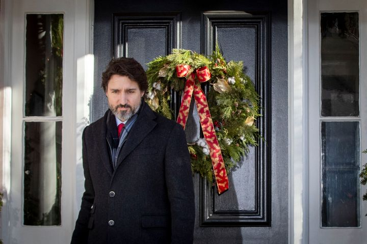Prime Minister Justin Trudeau arrives to speak during a COVID-19 briefing at Rideau Cottage in Ottawa, on Dec. 18, 2020.