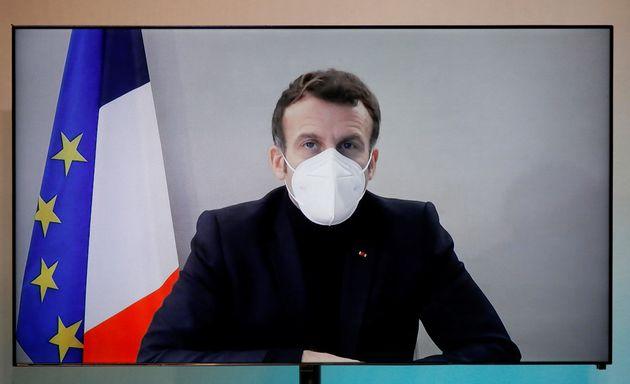 Emmanuel Macron en visio conférence le 17 décembre 2020.(Charles Platiau/Pool vía...