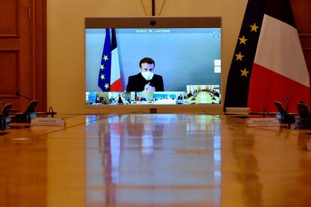 Emmanuel Macron en visioconférence depuis la résidence de la Lanterne