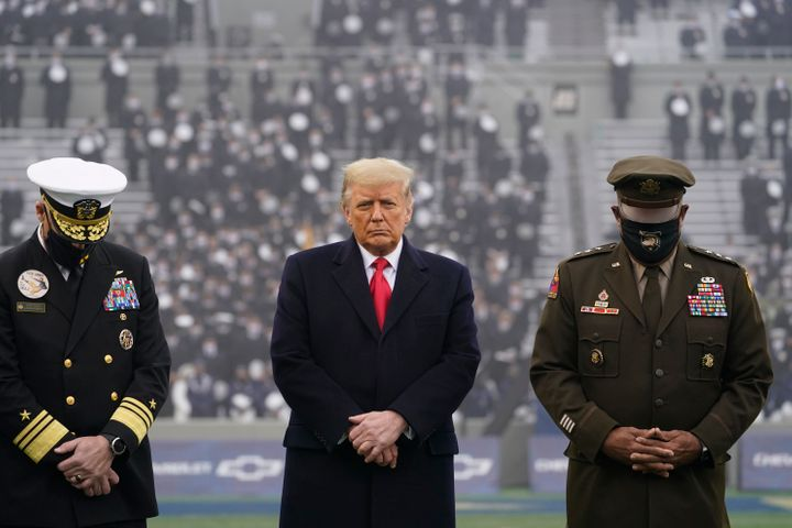 FILE - In this Dec. 12, 2020, file photo President Donald Trump stands on the field before the 121st Army-Navy Football Game