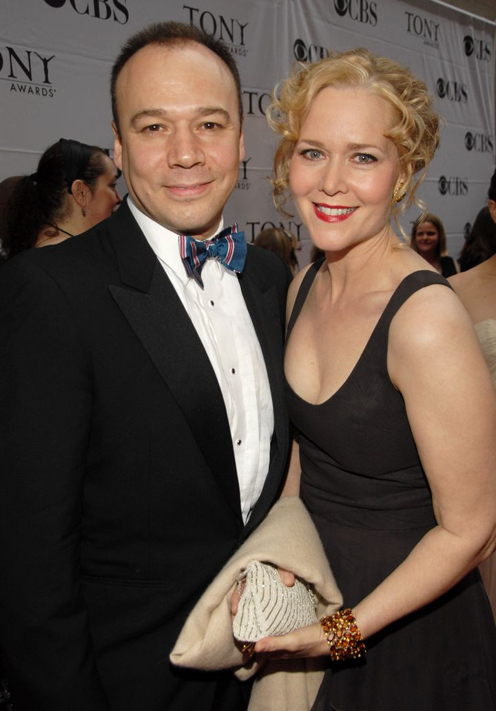 """Rebecca Luker and Danny Burstein at the 2007 Tony Awards where she was nominated for featured actress in a musical for """"Mary"""