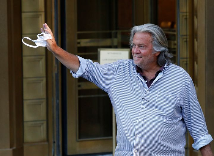 Former White House chief strategist Steve Bannon exits the Manhattan Federal Court on Aug. 20 following his arraignment heari