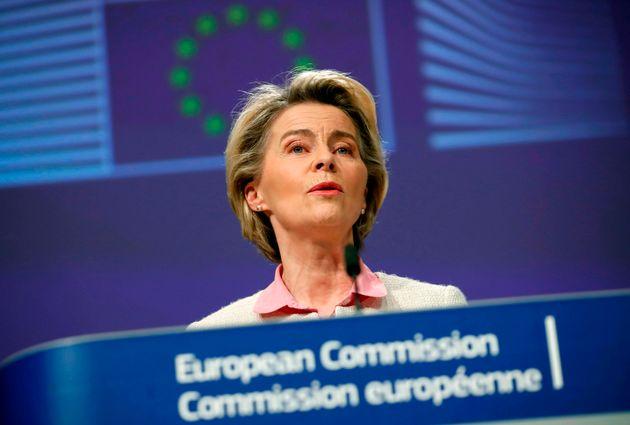 European Commission President Ursula von der Leyen addresses a media conference on Brexit negotiations...