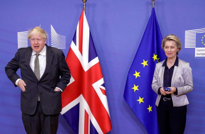 European Commission President Ursula von der Leyen (right) welcomes British Prime Minister Boris Johnson prior to a meeting a