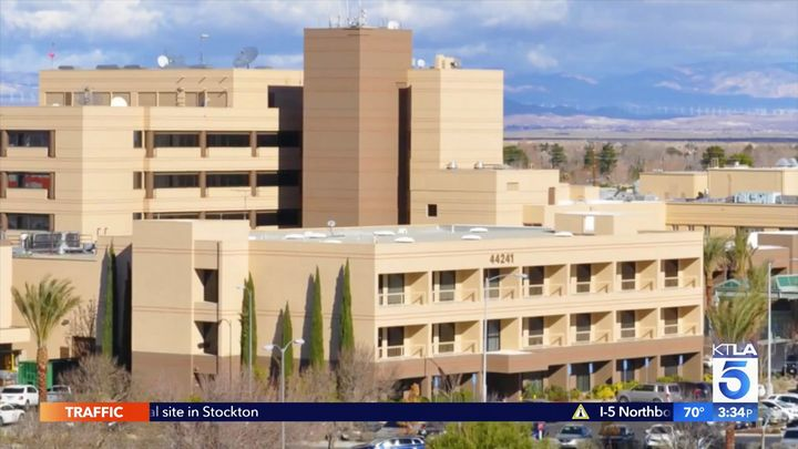 Jesse Martinez, 37, allegedly attacked his 82-year-old roommate with an oxygen tank at Antelope Valley Hospital in Lancaster,