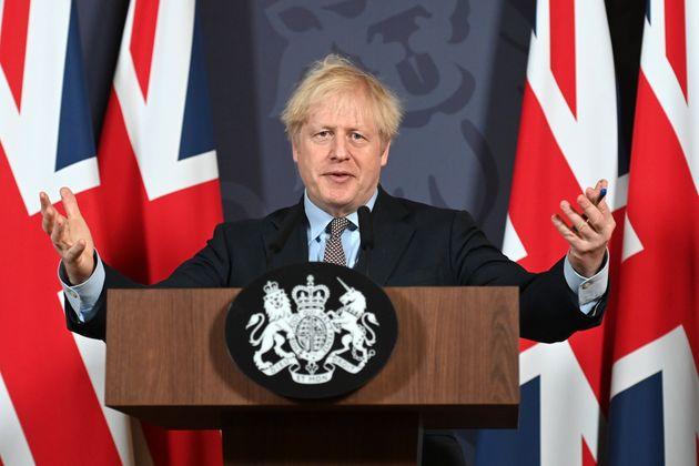 Boris Johnson, ici lors d'une conférence de presse à Londres, le 24 décembre