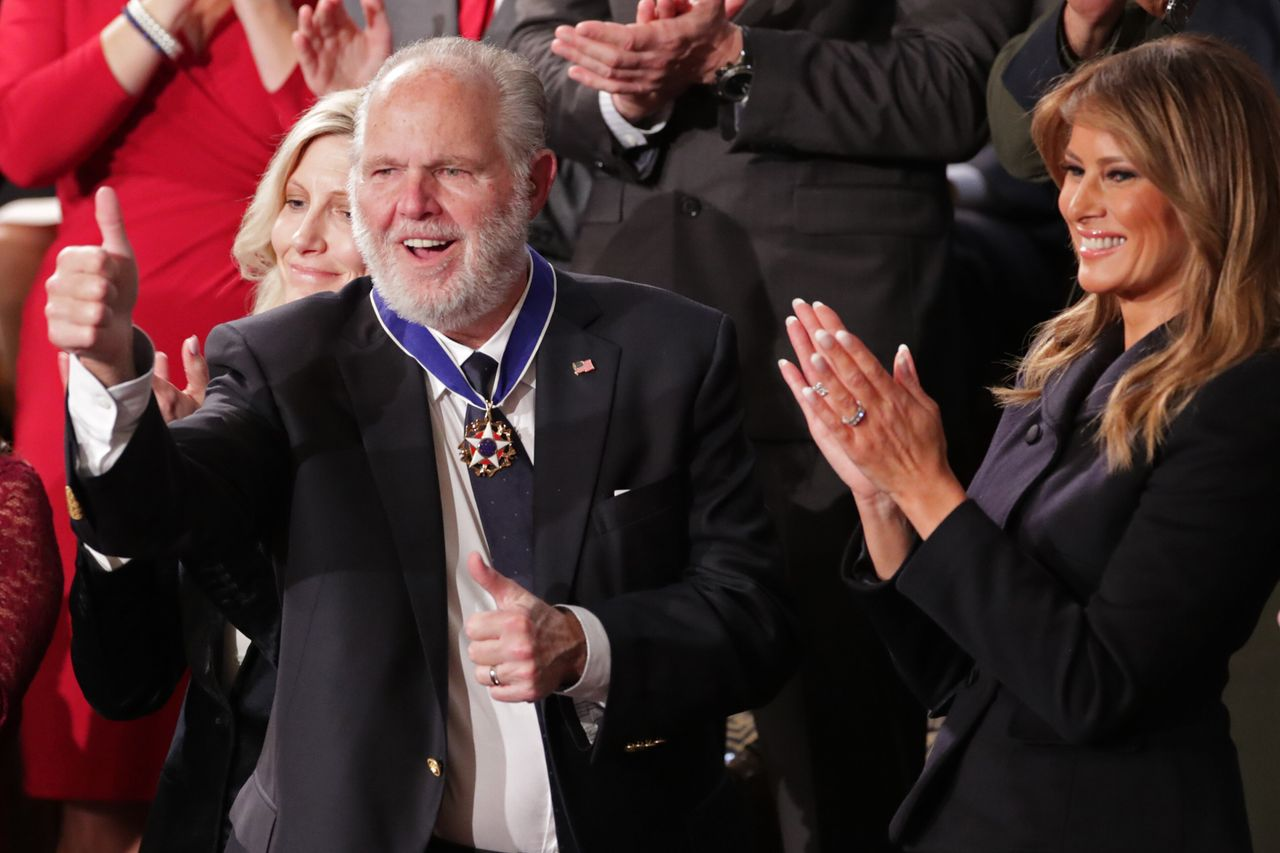 Rush Limbaugh shortly after being awarded the Presidential Medal of Freedom by First Lady Melania Trump during President Donald Trump's State of the Union address in 2020.