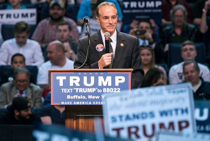 Then-Rep. Chris Collins (R-N.Y.) speaks at a campaign rally for Trump in 2016. A few years later: pardon.