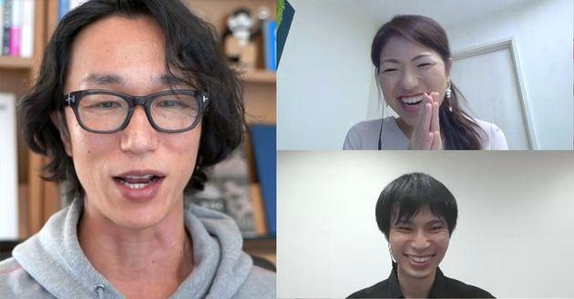 突然の効果音に盛り上がる参加者(左:村上さん、右上:小澤さん、右下:佐野さん)