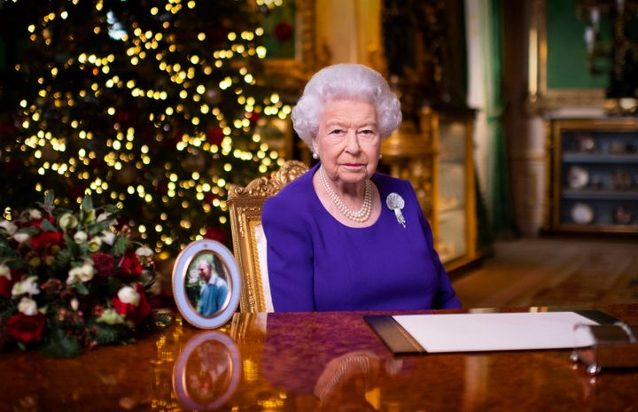 In this undated photo issued on Friday, Queen Elizabeth II records her annual Christmas broadcast in Windsor Castle, Windsor, England.