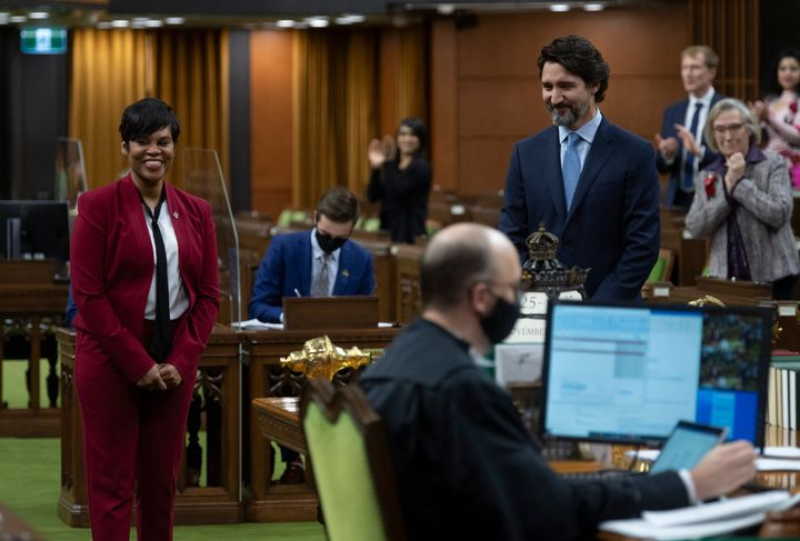 Prime Minister Justin Trudeau introduces new Member of Parliament Marci Ien before Question Period in the House of Commons on Nov. 25, 2020 in Ottawa.