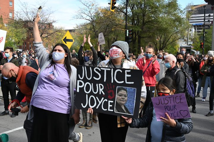 Protesters gather during a demonstration in central Montreal on Oct. 3, 2020, to demand action for the death of Joyce Echaquan, an Atikamekw woman subjected to live-streamed racist slurs by hospital staff before her death.