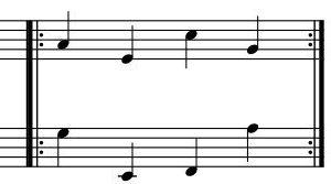 反復記号の楽譜の例