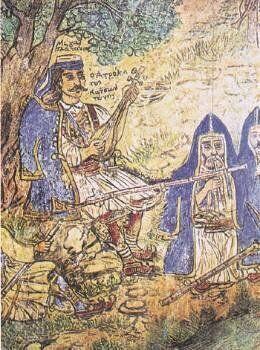 «Ο ατρόμητος Κατσαντώνης» παίζει τον ταμπουρά του. Λεπτομέρεια από τοιχογραφία του Θεόφιλου.Αθήνα, Μουσείο...