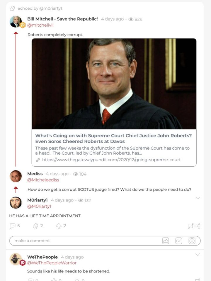 "WeThePeopleWarrior posts in response to a comment about ""corrupt"" Chief Supreme Court Justice John Roberts."