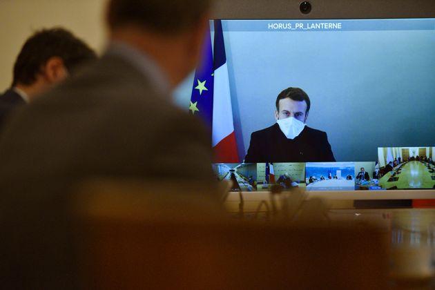 Image d'illustration - Le Président Emmanuel Macron lors d'une visioconférence, le 21 décembre
