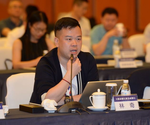 CHENGDU, CHINA - MAY 25: Lin Qi, Chairman and CEO of Yoozoo Games Co., Ltd, speaks during a meeting on...