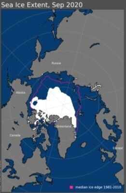Hielo del mar Ártico en septiembre de 2020. La línea morada marca la extensión que alcanzaba el hielo...