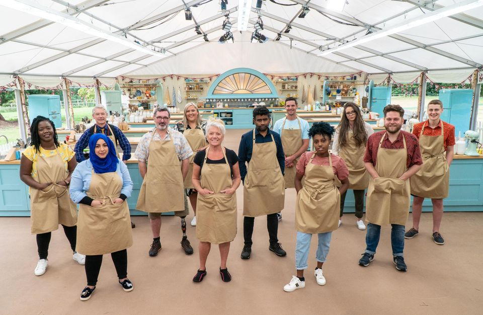 Laura with her fellow Bake Off contestants on their first day in the
