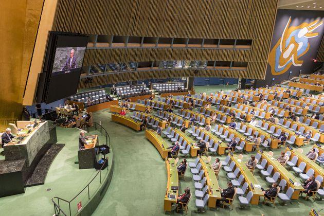 22/09/2020 New York, dibattito alle Nazioni Unite, l'assemblea ha parlato dell'importanza della collaborazione...