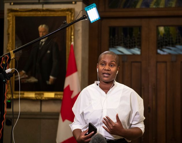Green Party Leader Annamie Paul speaks during a TV interview on Nov. 30, 2020.