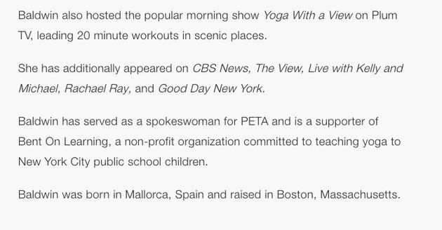 Hilaria Baldwin's CAA speakers biography as of Monday