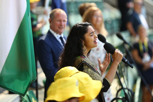 Amritha Shakti sings the Indian national anthem on day one of the Second Test match between Australia...