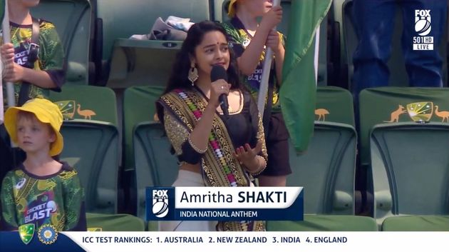 "Shakti described the opportunity to sing the national anthem at the match as ""the biggest..."