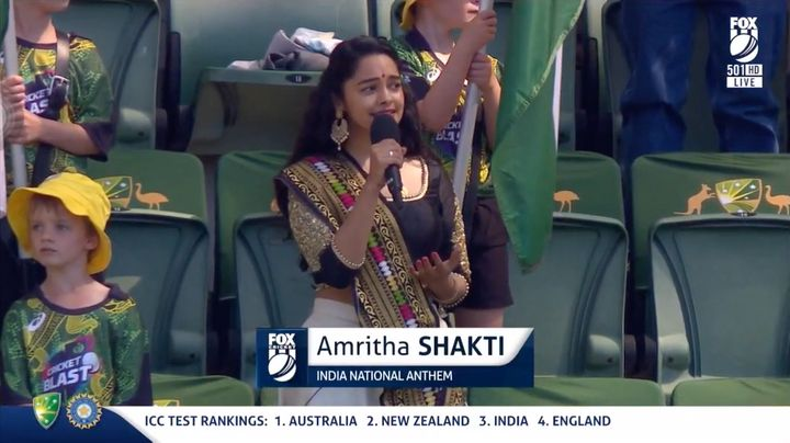 """Shakti described the opportunity to sing the national anthem at the match as""""the biggest and deepest privilege""""."""