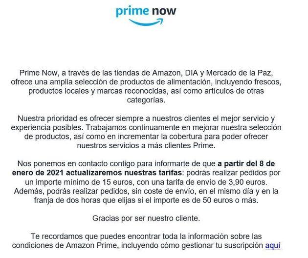 Correo electrónico remitido por Amazon a los usuarios de Prime