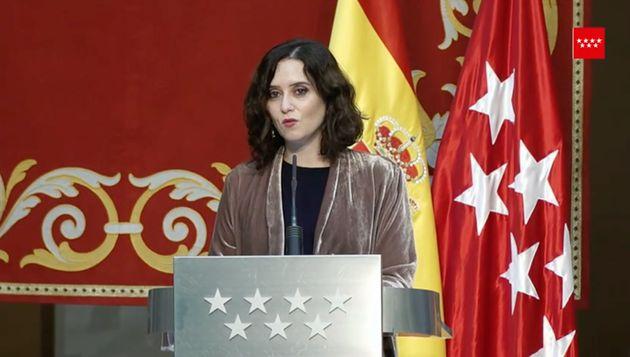 Isabel Díaz Ayuso, este martes en la rueda de prensa de balance de