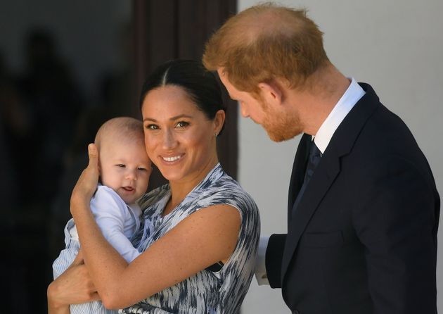 The Duke and Duchess of Sussex and their baby son Archie Mountbatten-Windsor at a meeting with Archbishop...