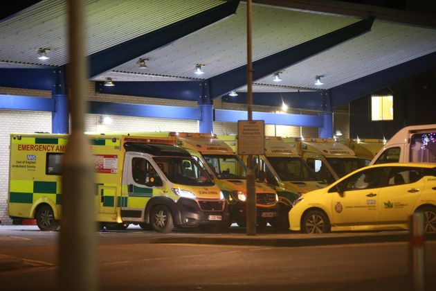 Ambulances outside Queen's Hospital in Romford, which has moved into the highest tier of coronavirus...